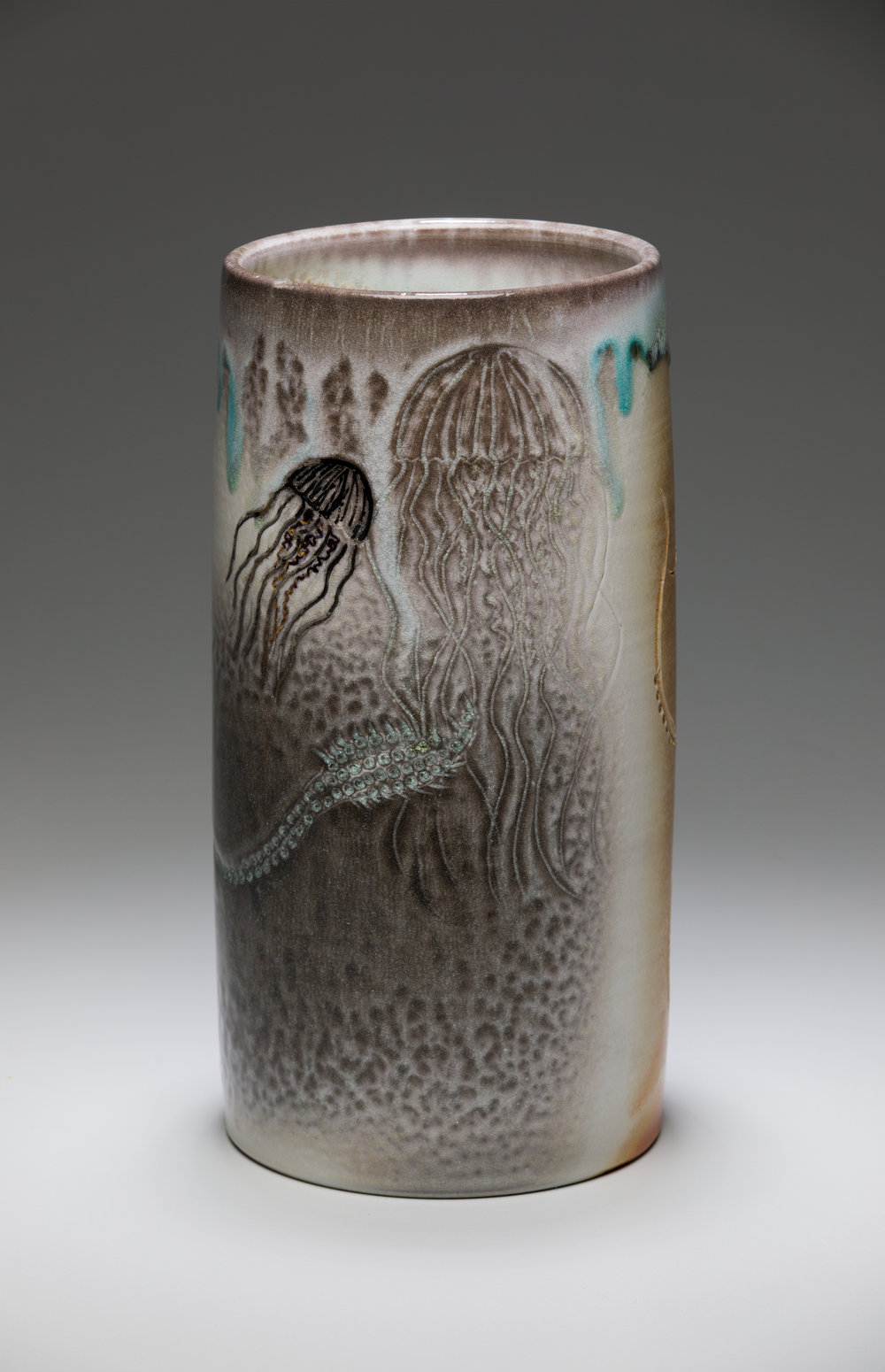vase- squid, jelly-fish  porcelain, wood-fired