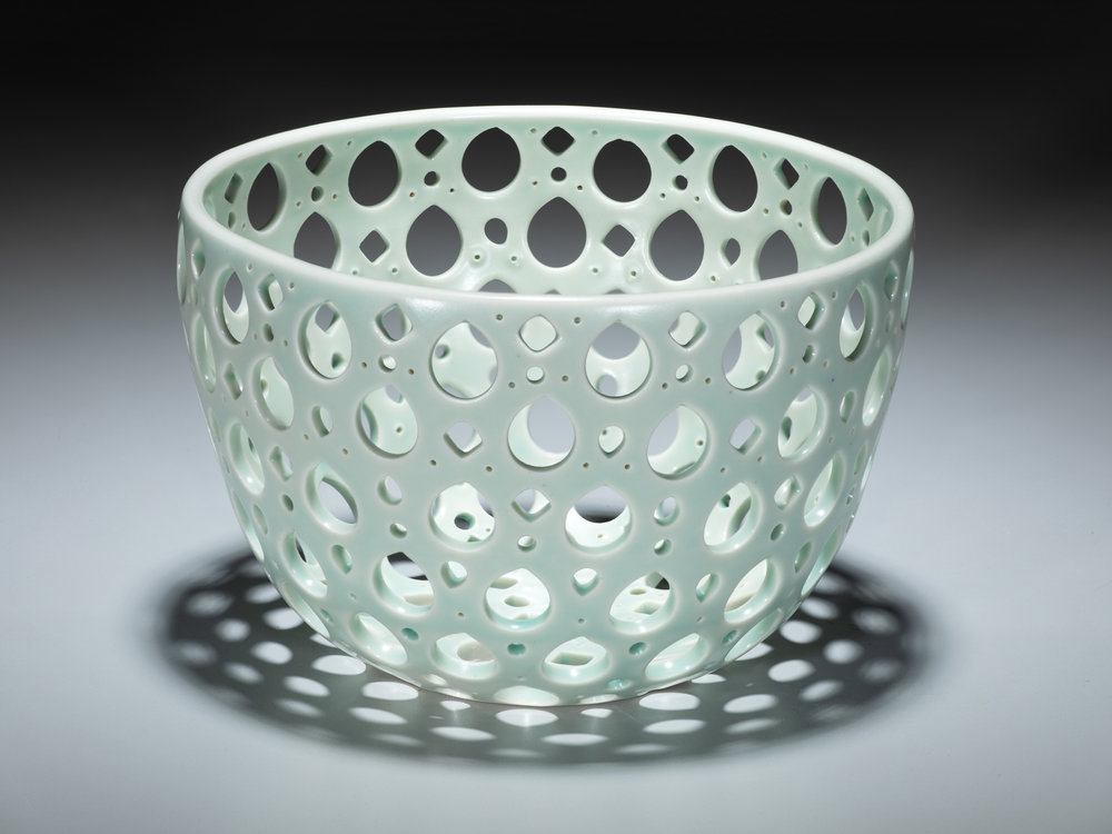 pierced bowl  porcelain, electric-fired