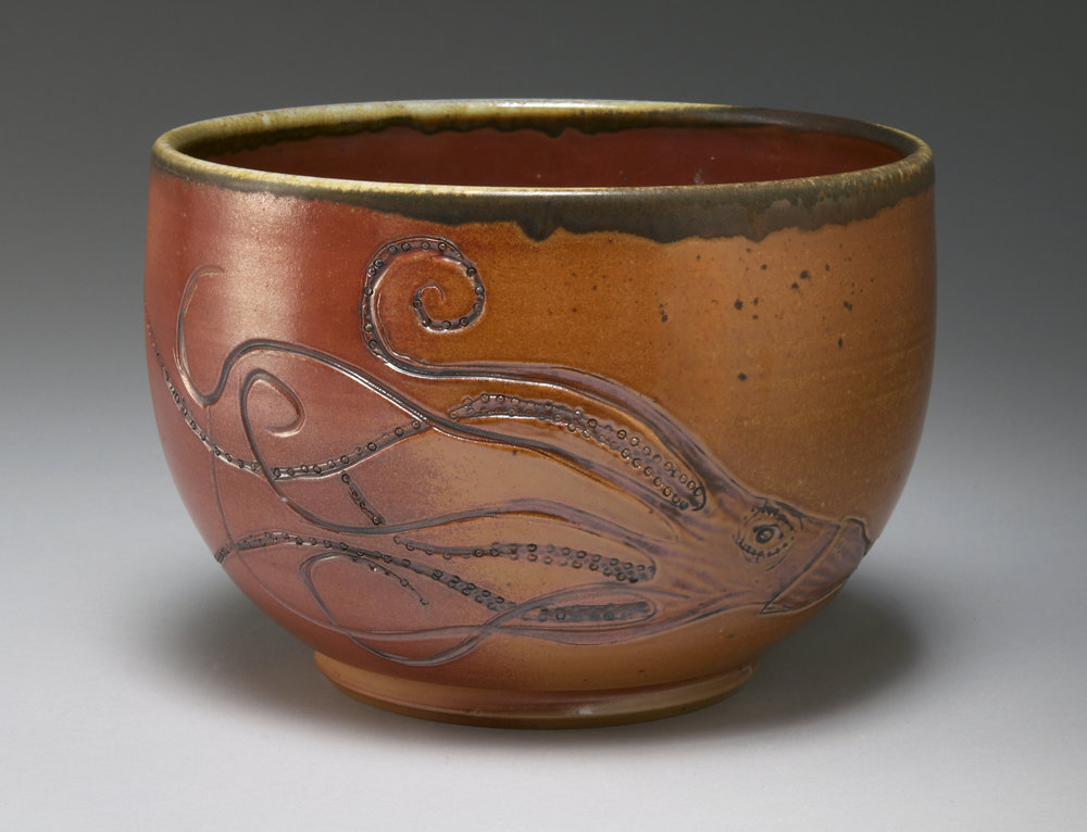 squid bowl  porcelain, wood-fired