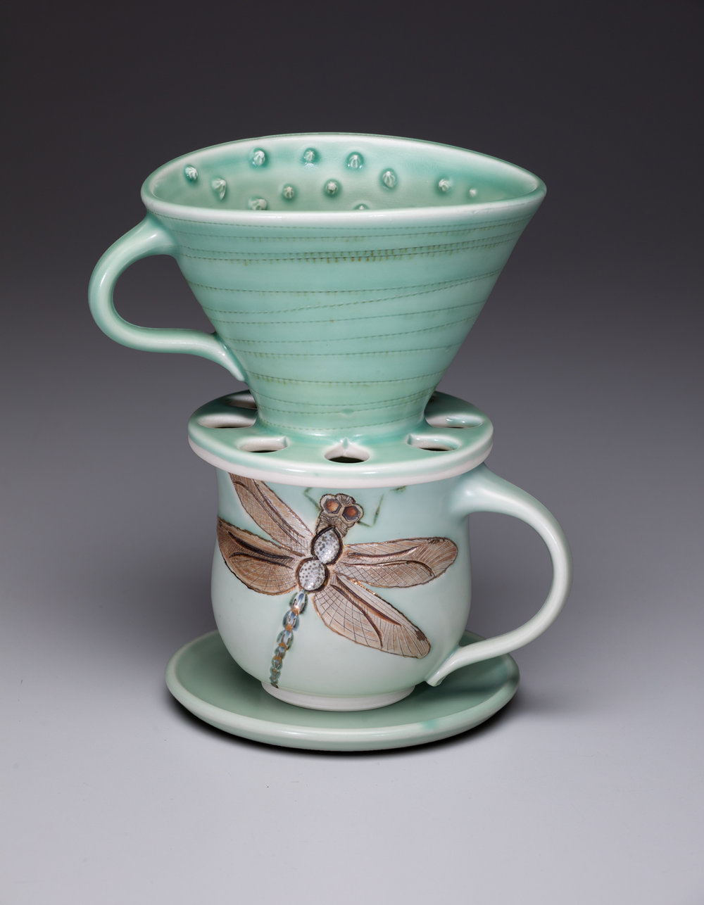 mug and pour-over set, dragonfly  porcelain, electric-fired