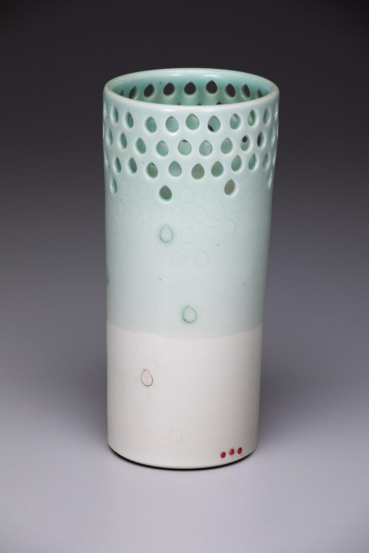 pierced vase  porcelain, electric-fired