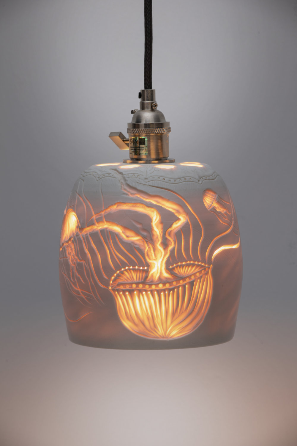 jellyfish pendant lamp  porcelain, electric fired
