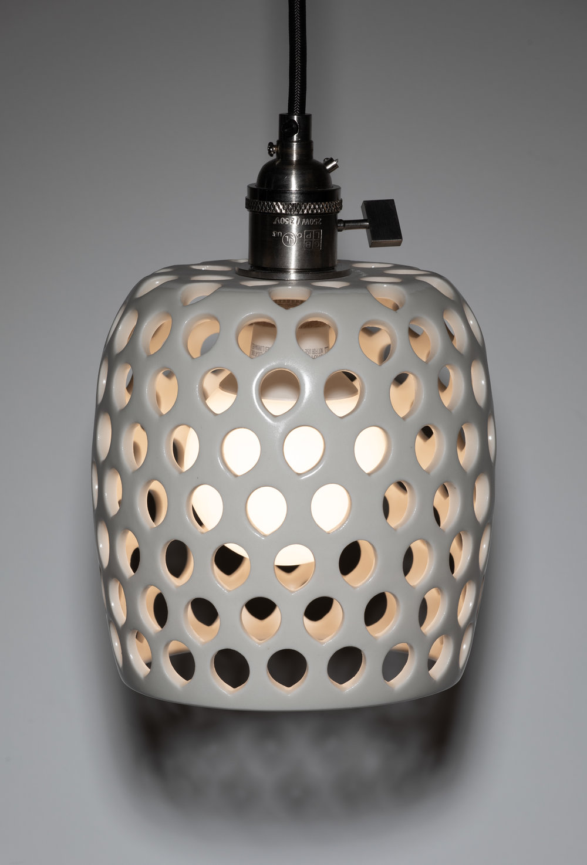 pierced pendant lamp  porcelain, electric-fired