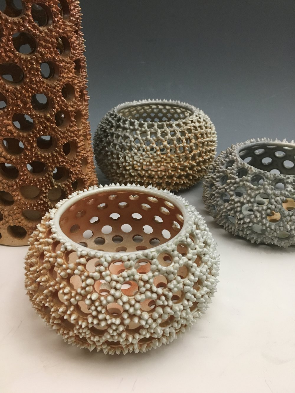 pierced spiny pods  porcelain and stoneware wood-fired