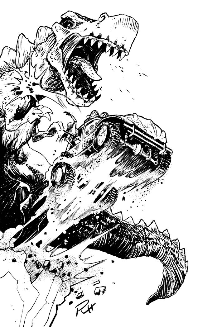 Comic-Book-Art-Inking-dinosaur-chasing-car-Robin-Holstein.jpg