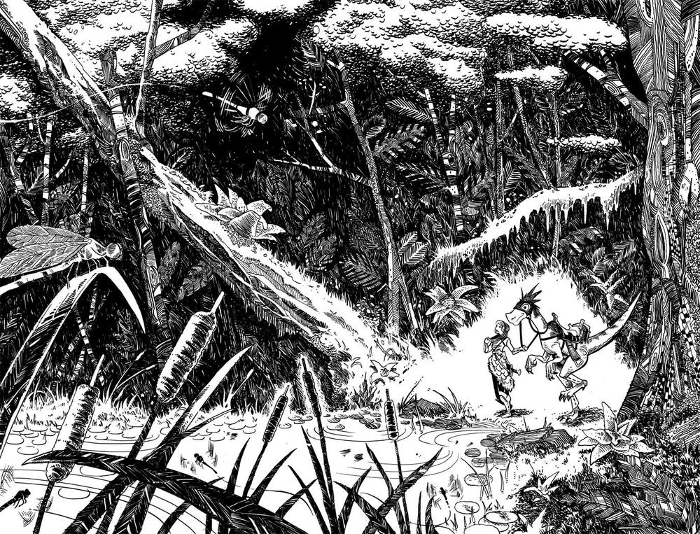Comic-Book-Art-Inking-girl-riding-dinosaur-jungle-nature-Robin-Holstein.jpg