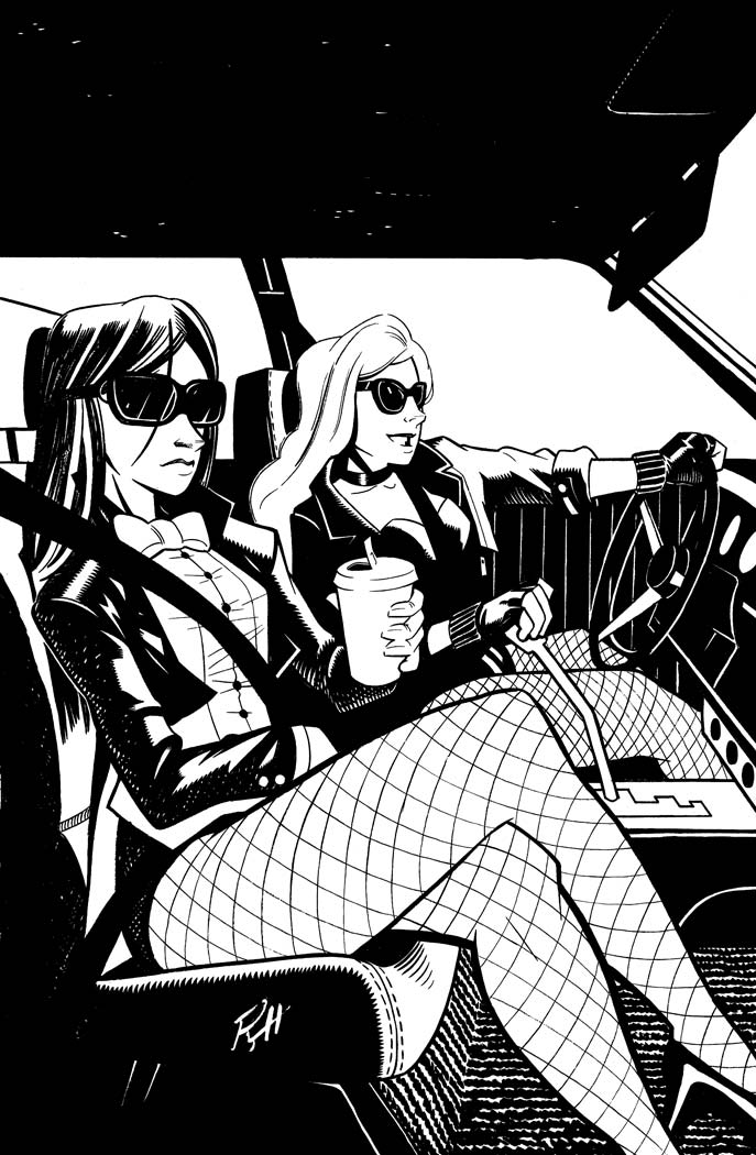 Comic-Book-Art-Inking-Black-Canary-and-Zatana-driving-roadtrip-Robin-Holstein.jpg
