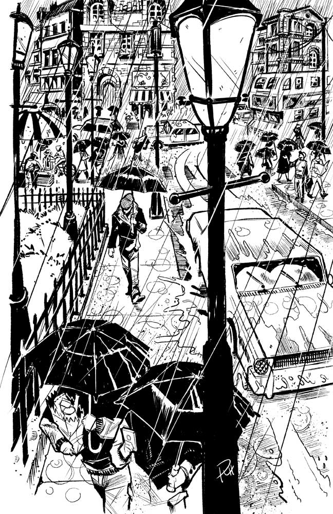 Comic-Book-Art-Inking-rainy-day-busy-street-Robin-Holstein.jpg