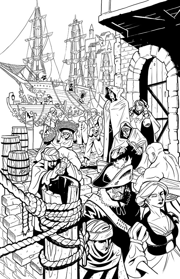 Comic-Book-Art-Inking-Stormwall-ships-busy-harbor-Robin-Holstein.jpg