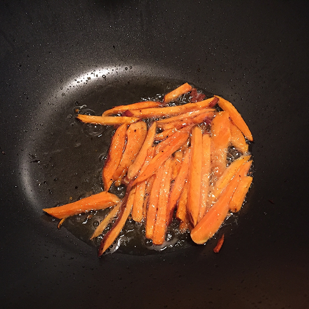Sweet Potatoes Fries in a Pan