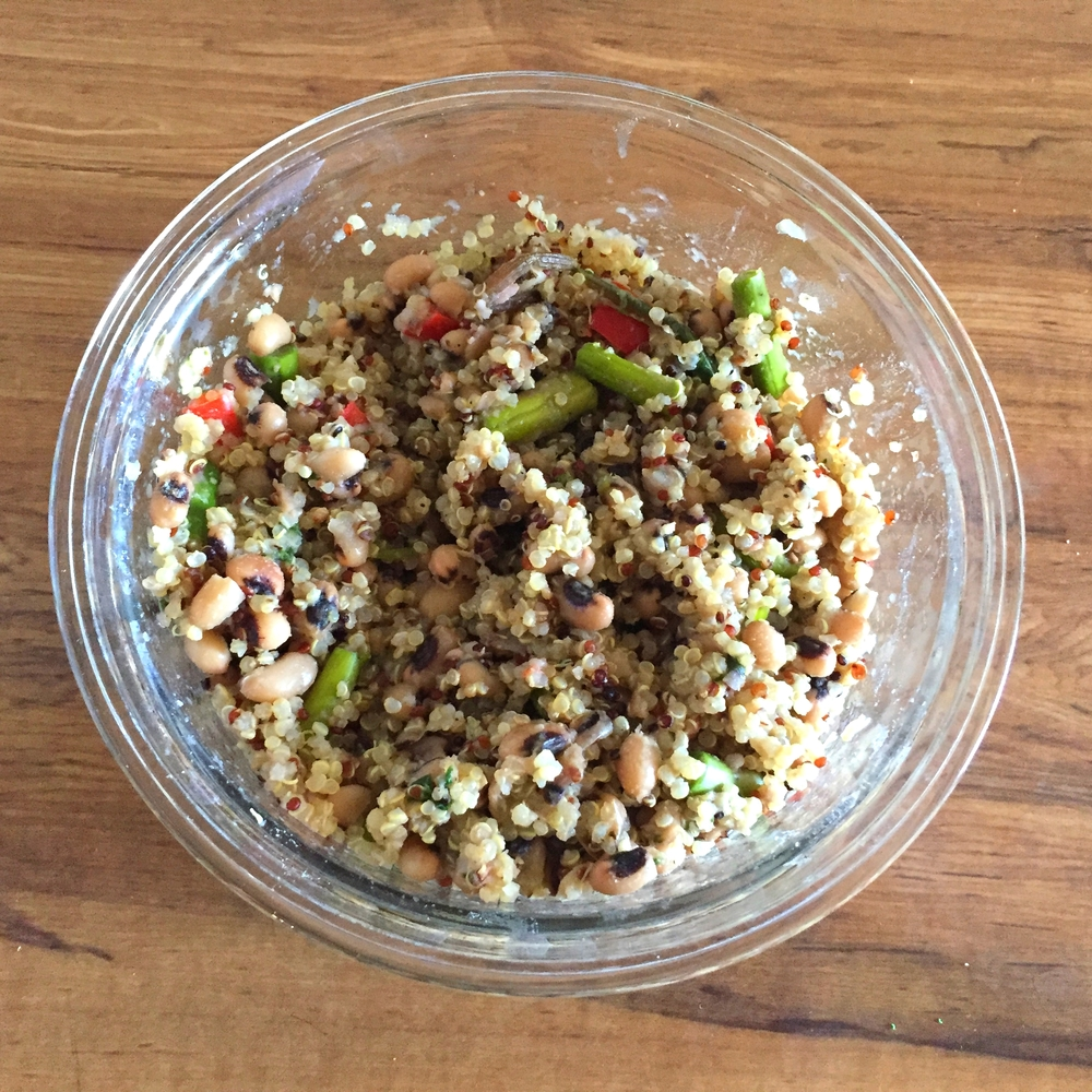 Black eyed peas with vegetable and quinoa medley