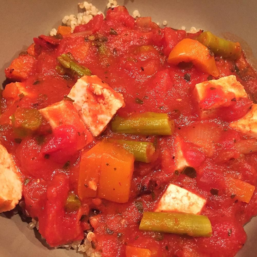 Tofu asparagus marinara with quinoa