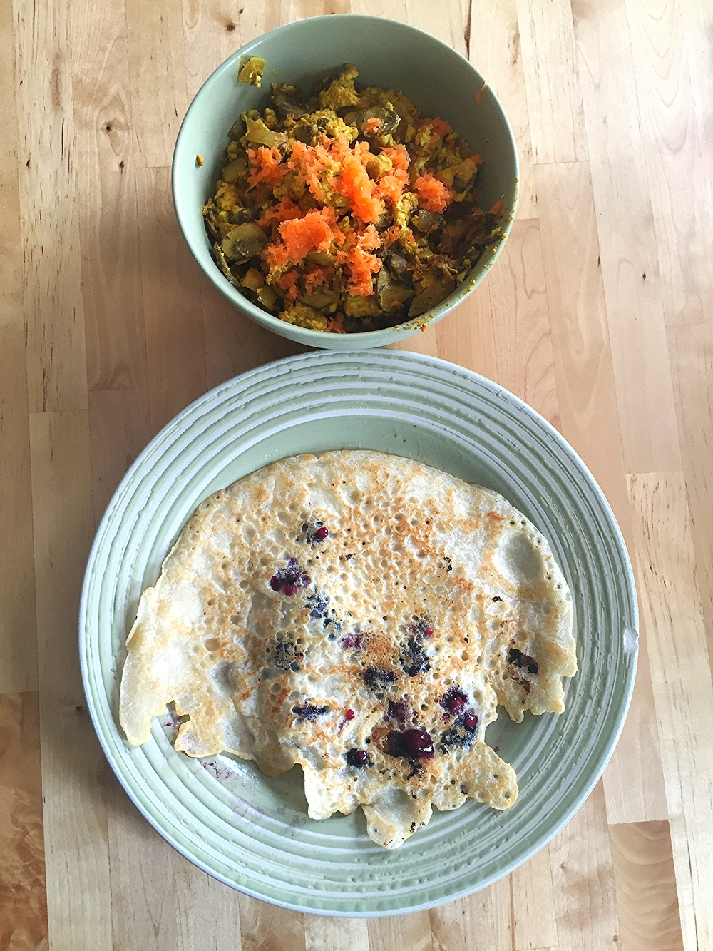 Vegan Blueberry Almond Pancakes with Scrambled Tofu
