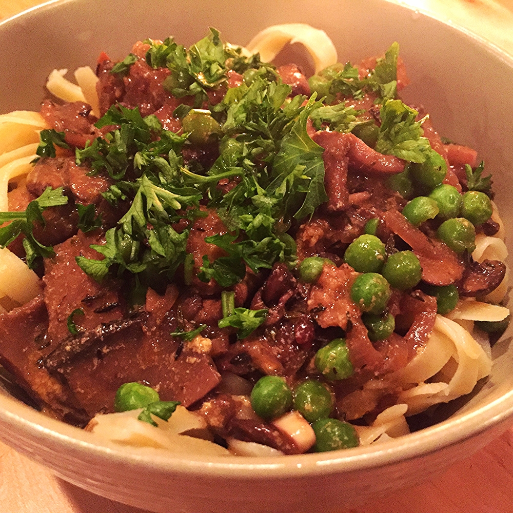 Vegan Stroganoff with Seitan and Mushrooms