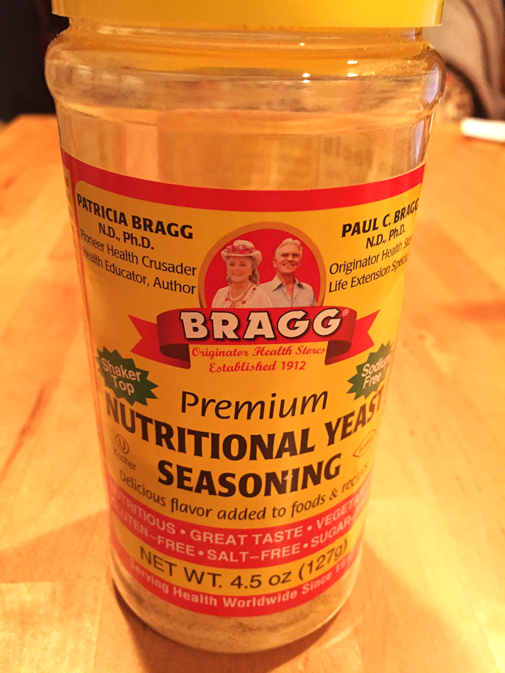 You can find Bragg Premium Nutritional Yeast Seasoning at Whole Foods and other health food stores