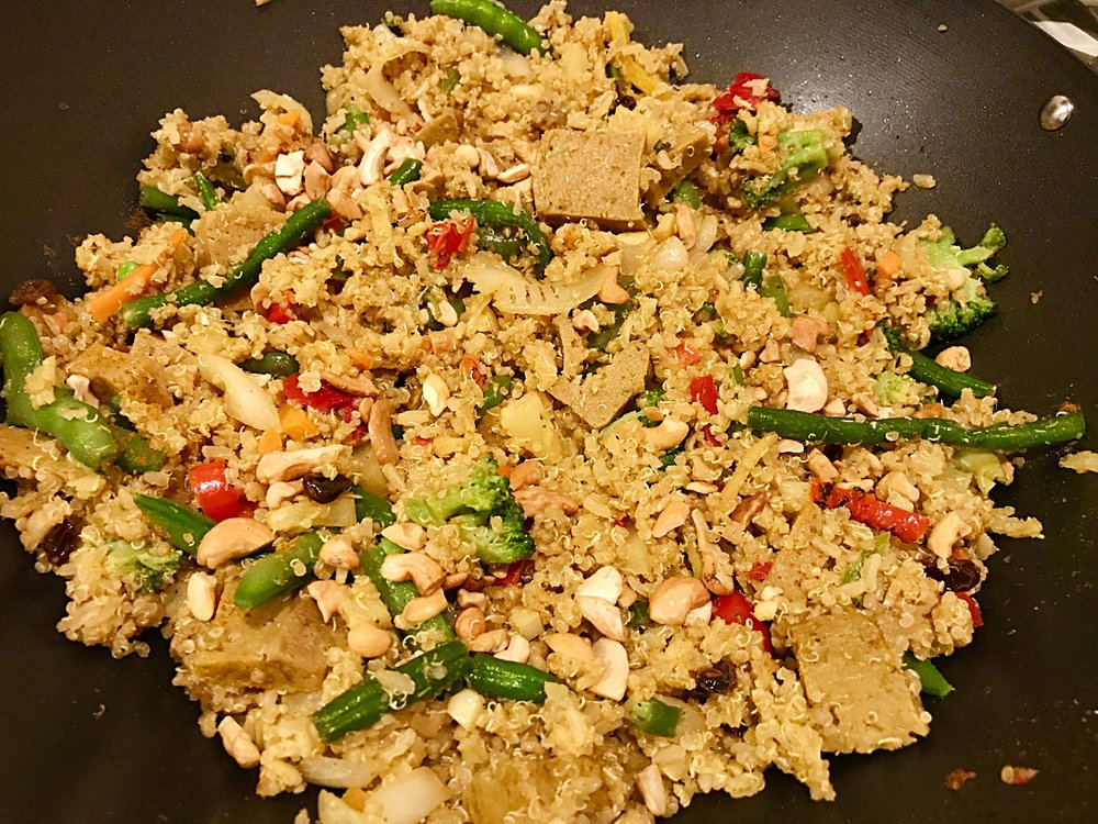 Fast and easy to make vegan Thai pineapple fried rice and quinoa dish