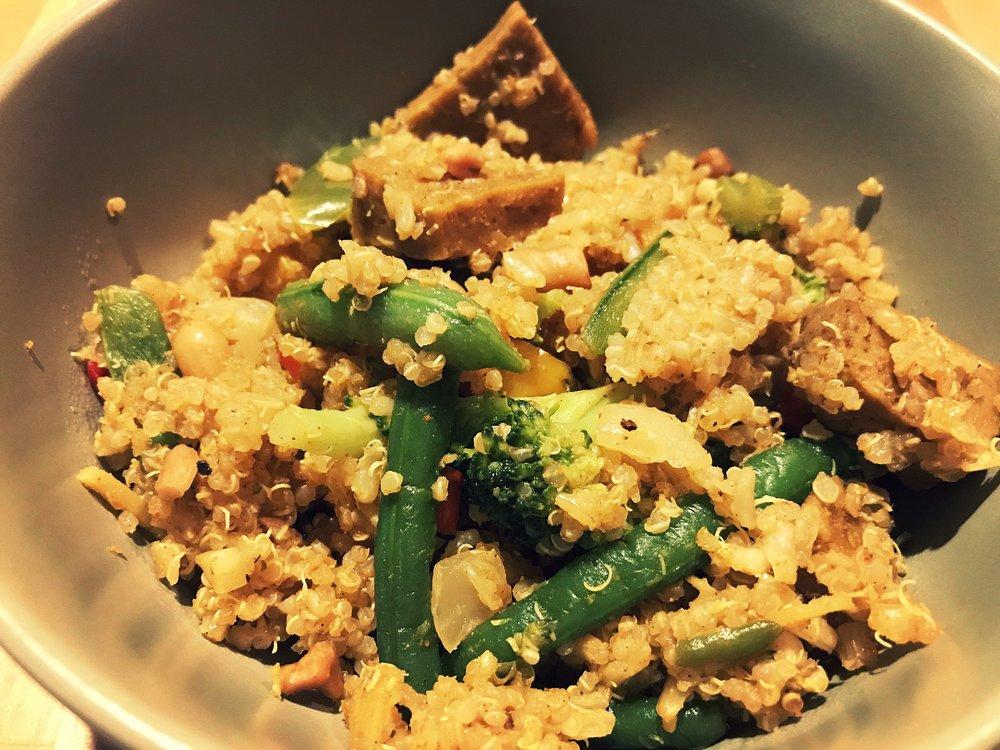 Vegan Thai pineapple fried rice and quinoa