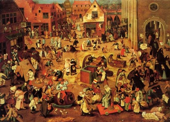 """Peter Brueghel , """"o Velho"""" (1525-1569)    """"A luta entre Carnaval e Quaresma"""", 1559,    óleo sobre madeira de carvalho    Wien Kunsthistorisches Museum Gemäldegalerie"""