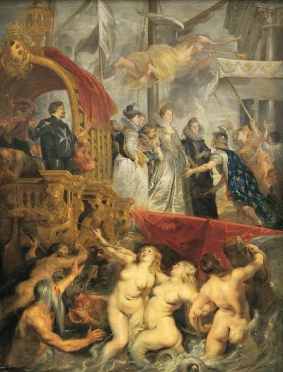 Peter Paul Rubens    Desembarque em Marselha , 1622-25   Óleo s/tela 394 × 295 cm    Museu do Louvre