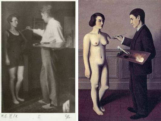 """René Magritte  L'amour, 1928 / fotografia  Auto-portrait devant sa peinture """"Tenter L'Impossible"""", 1928 / pintura"""