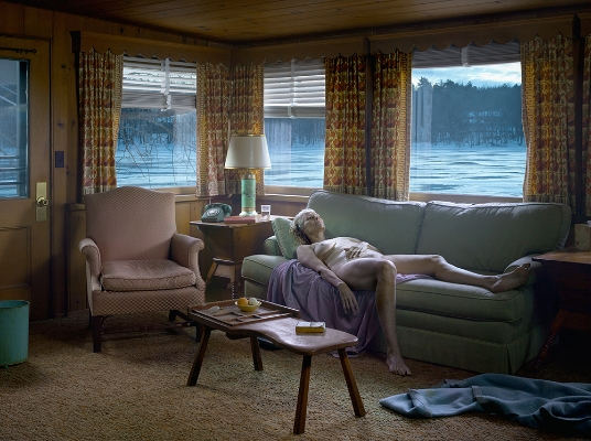 Gregory Crewdson  Reclining Woman on Sofa, 2014  Digital Pigment print.  Courtesy of  Gagosian Gallery