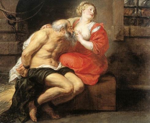 Peter Paul Rubens,  Pero e Cimon , 1630.  Óleo s/tela, 155x190 cm  Rijksmuseum, Amsterdão