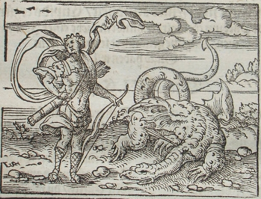 Virgil Solis Apolo matando Píton, gravura de 1581, para a Metamorfoses, de Ovídio, livro I. créditos: wikipedia