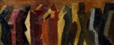 David Bomberg   -   Procession, 1912-1914     Oil on paper laid on panel, 28.9 x 68.8 cm