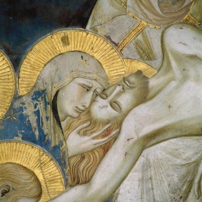 Pietro Lorenzetti, Lamentação de Cristo (detalhe), 1310-1329  Fresco  Basilica de Assis, Itália  créditos:  wikipédia
