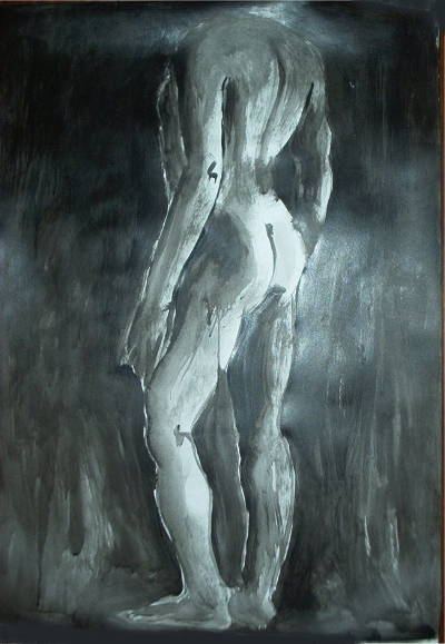 Luís Barreira  Desenho, 1996  acrílico s/papel (60x80cm)  modelo: escultura da Villa Adriana, Roma  col. particular: Paula Silva