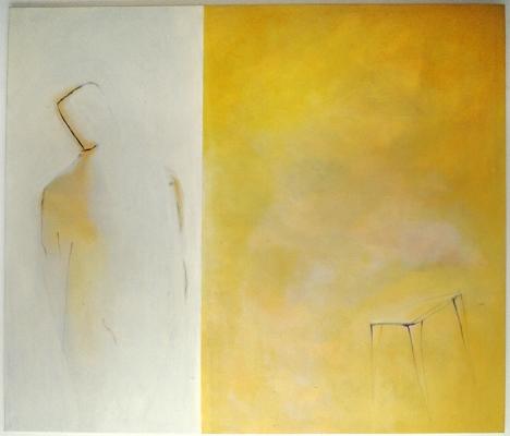 """Luís Barreira  """" tenho pressa de morrer, em ti """", 1991  acrílico s/tela  160x185 cm  colecção privada:  arquivo:slide_21554, 1991"""