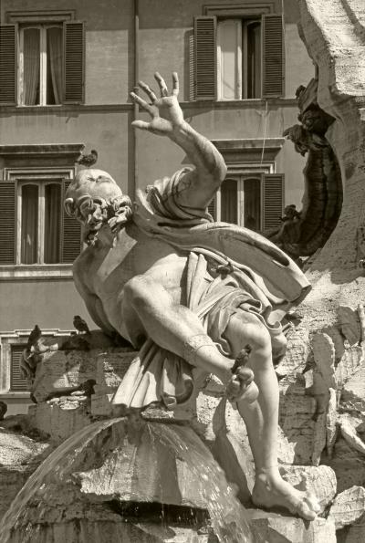 Luís Barreira   Fontana dei Quattro Fiumi , 1990  Série: ROMA'90  Fotografia  arquivo:slide_20535, 1990