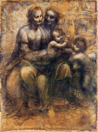 Leonardo da Vinci, A Virgem e o menino com St. Ana e S. João Baptista, 1499/1500  Técnica: Carvão e giz sobre papel  Dimensões: 141.5 × 104.6  Localização : National Gallery of London