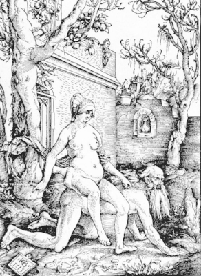 Woodcut of Aristotle ridden by Phyllis by Hans Baldung, 1515
