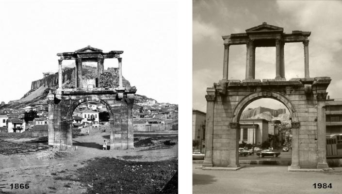 Porta de Adriano, Atenas   desconhecido , c. 1865  Luís Barreira, 1984  série: antiguidade  Fotografia
