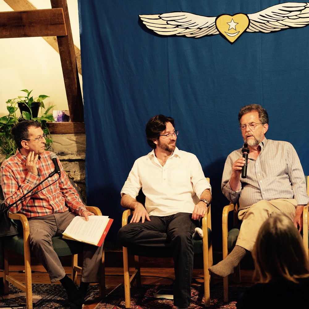 Gayan Macher, Netanel Miles-Yépez, and Himayat Inayati at the 2015 Season of the Rose Summer School at the Abode of the Message. Photo by Hilary Benas, 2015.