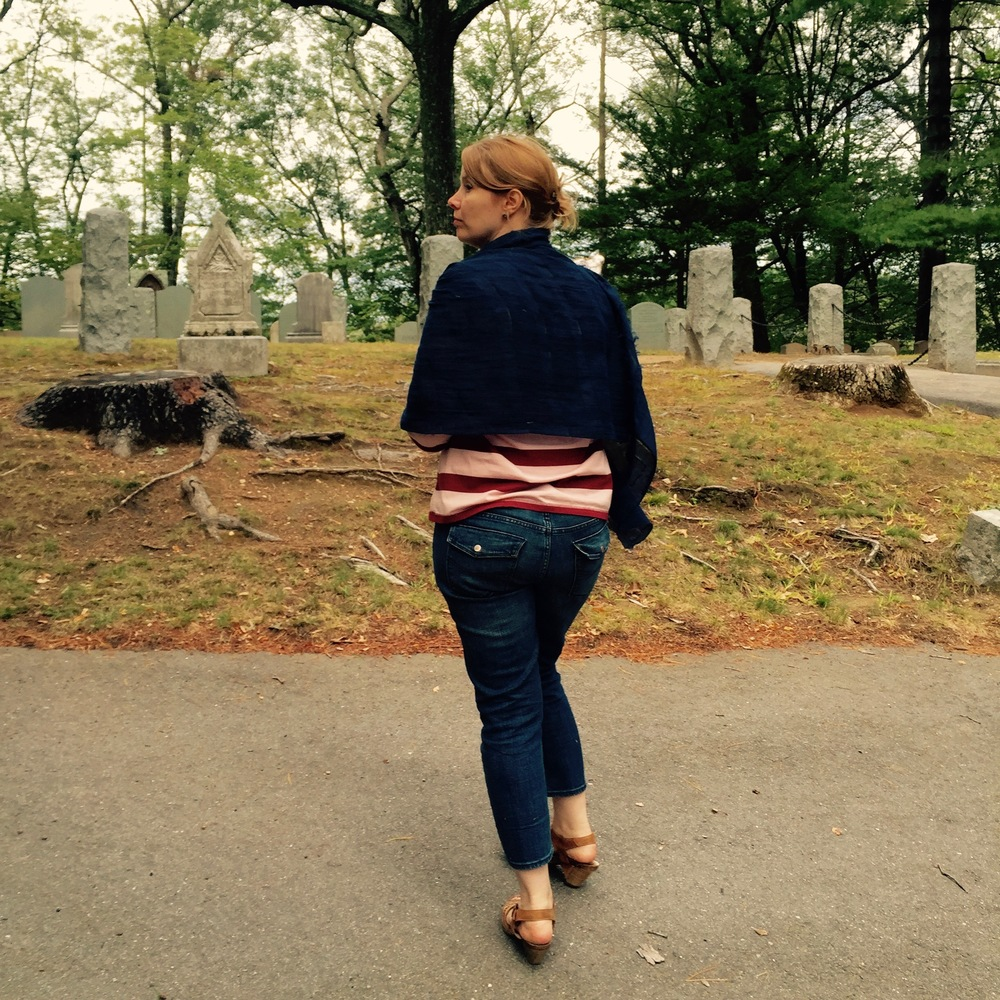 My friend, Alia, approaching the grave of Ralph Waldo Emerson. — N.M-Y.