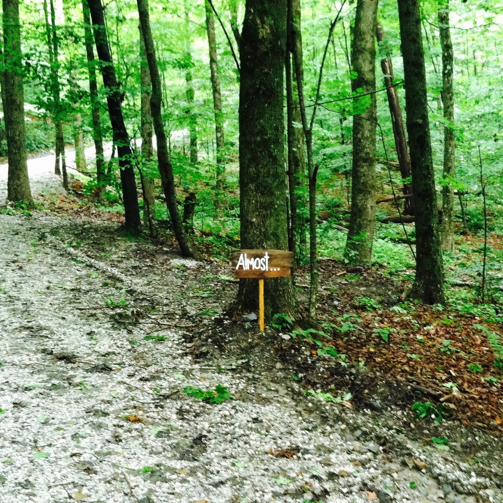 "A sign on the way up to Pir Vilayat's Pod. ""Almost ..."" was right. I never found it. — N.M-Y. 2015"