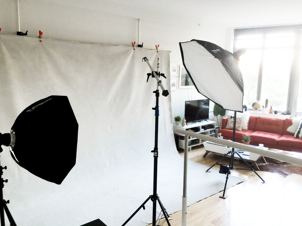LEFT: Fill light, 3 foot softbox TOP: Highlight light, Beauty dish RIGHT: Main light, 5 foot octa box