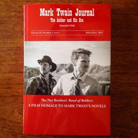 Nee bros be Mark Twainin' like crazy. Check out the cover story to this bi-yearly Mark Twain Journal, featuring #bandofrobbers !!! #marktwain #neebrothers