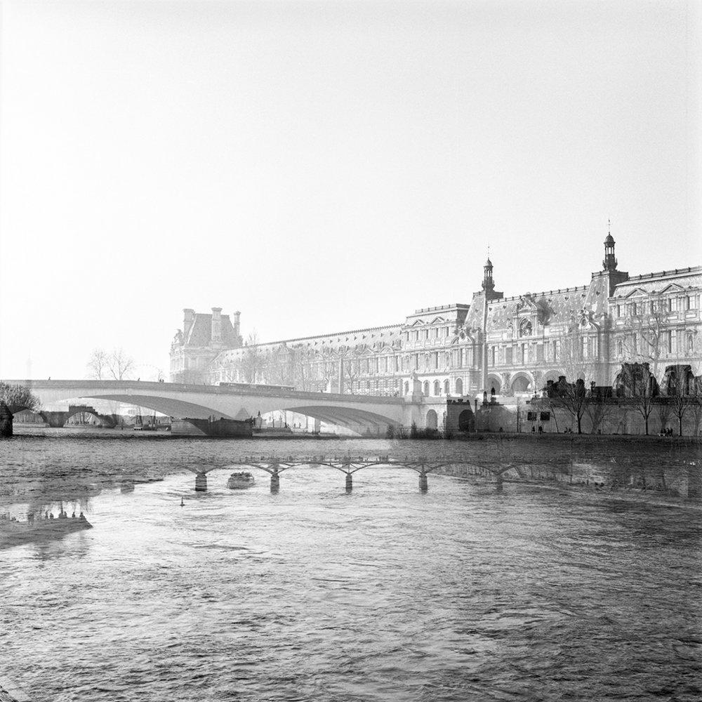 18.03.16 Pont du Carrousel et le Palais du Louvre + La Seine et Pont des Arts , 2016 archival photographic print, 32 x 32 cm