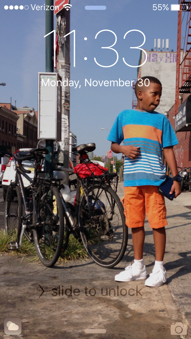 """My brother Jayden is my iPhone background. This is from when he spent the weekend with me at my apartment in Brooklyn. He's growing up in the suburbs on Long Island, so I'm glad that I can offer him a different experience when he comes to visit."""