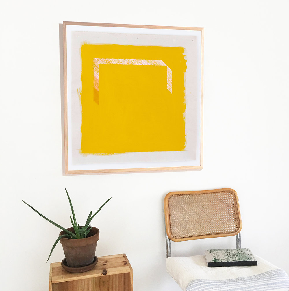 Large goldenrod yellow art print in frame