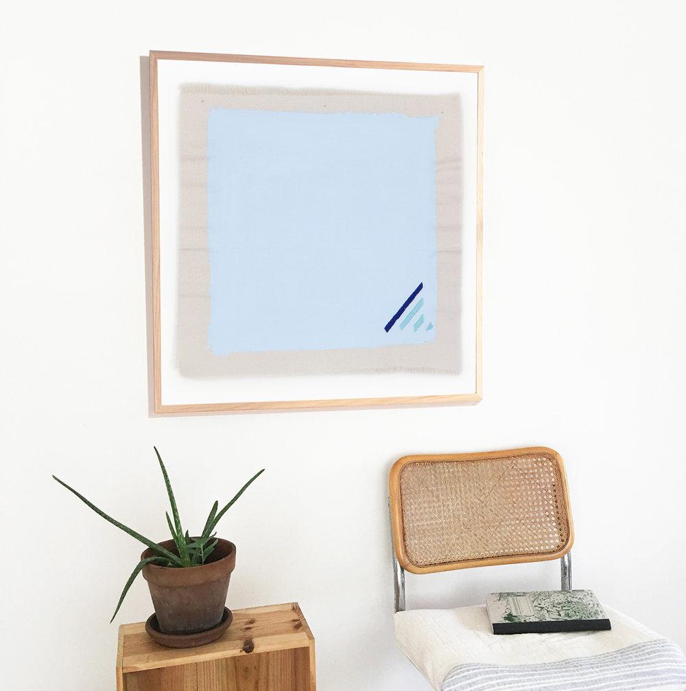 Robins egg blue art print in minimalist space