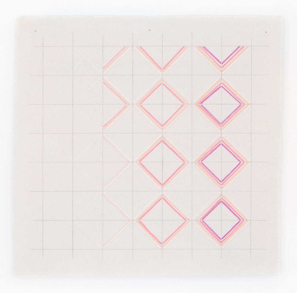 Pink and peach abstract grid art