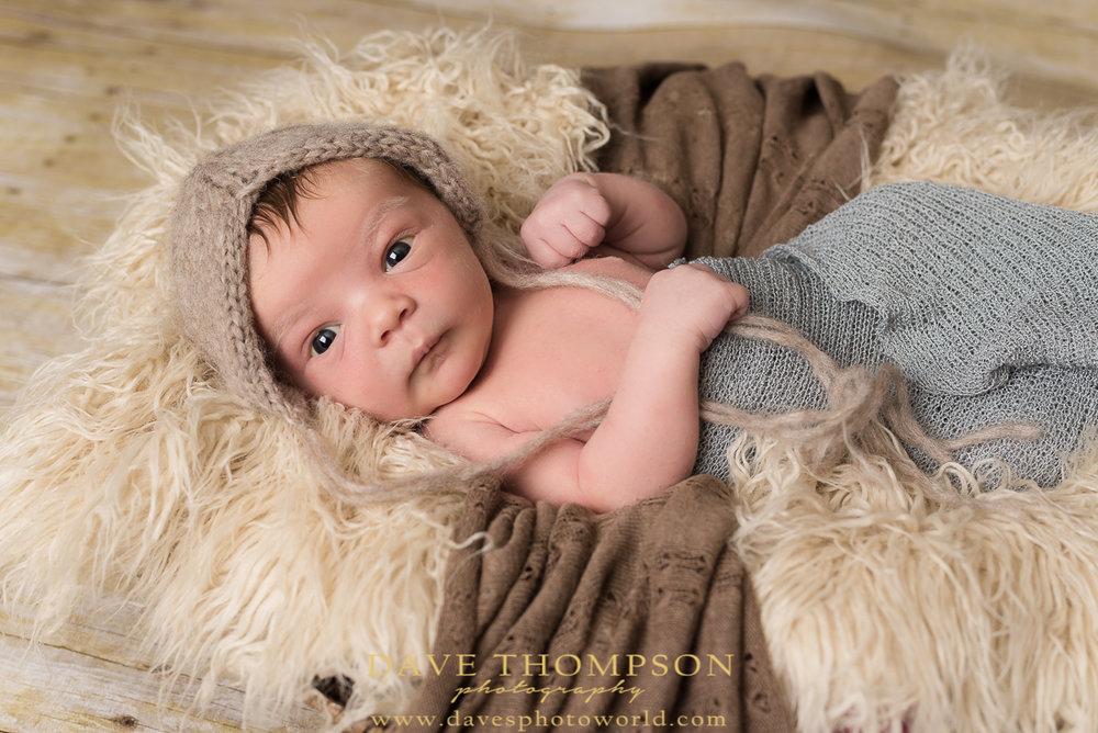 Baby Boy Swaddled in Blue