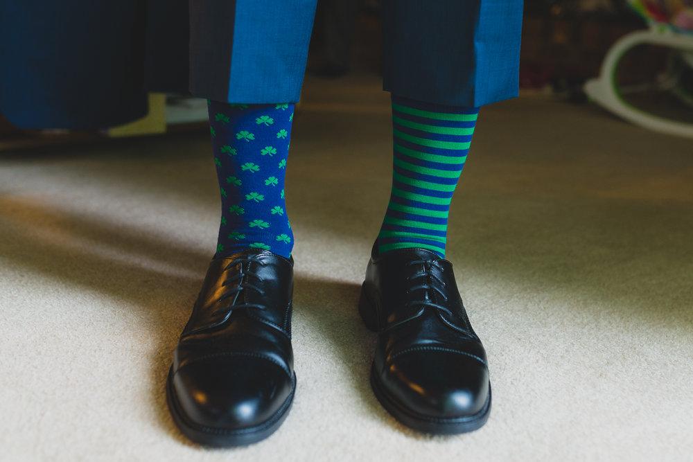 Notre Dame socks on Groom