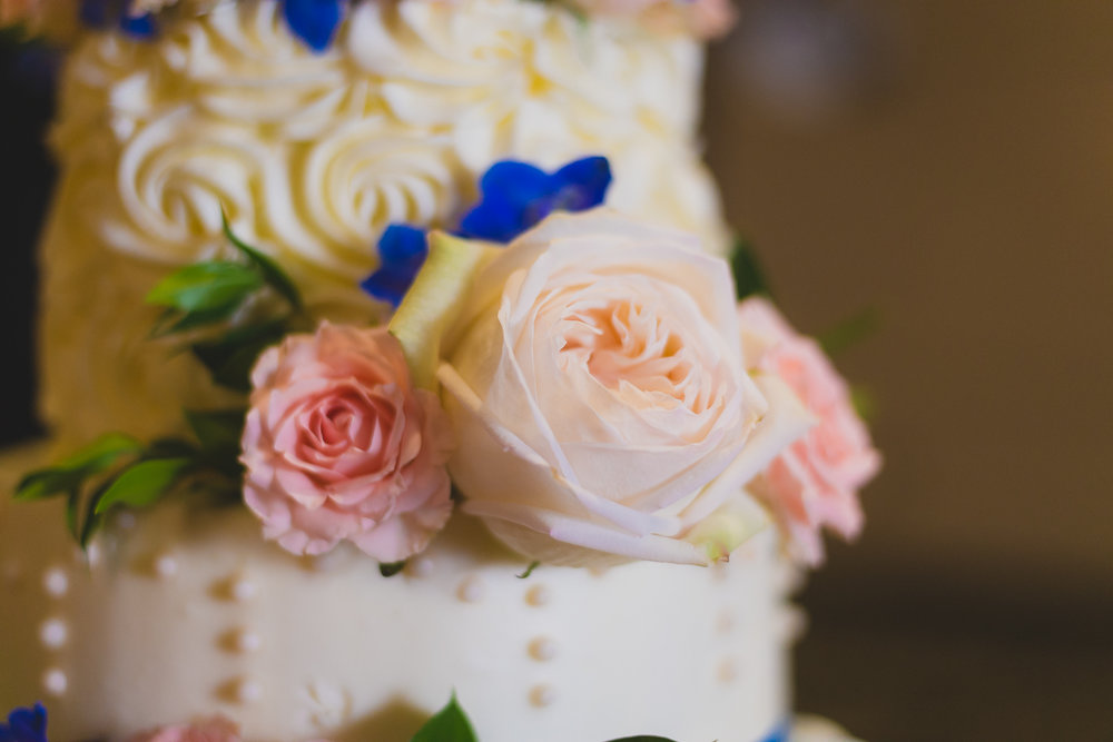 White and Pink Rose Wedding Cake