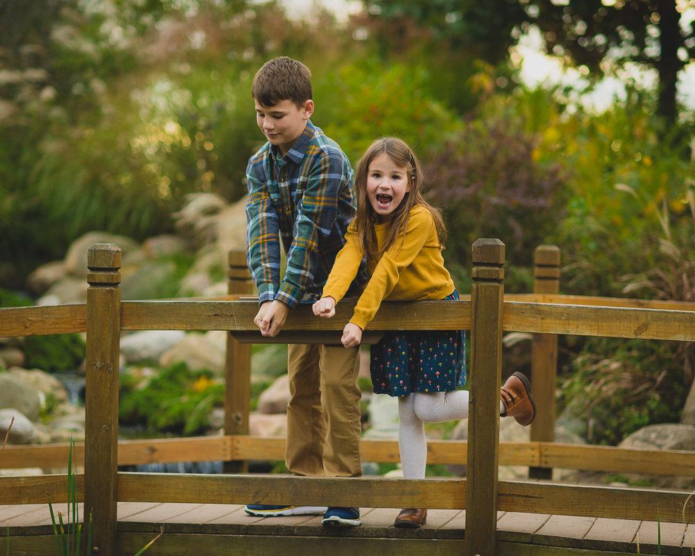 Children fishing for family photo