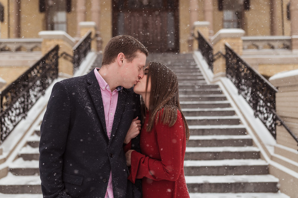 Winter engagement photos on college campus